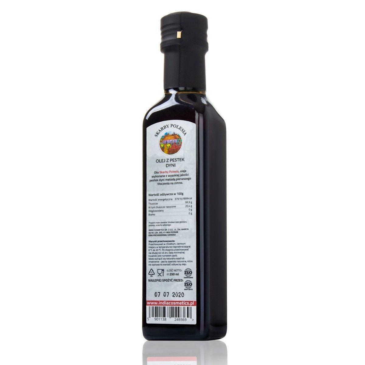 India Naturalny olej z pestek dyni tłoczony na zimno 250 ml