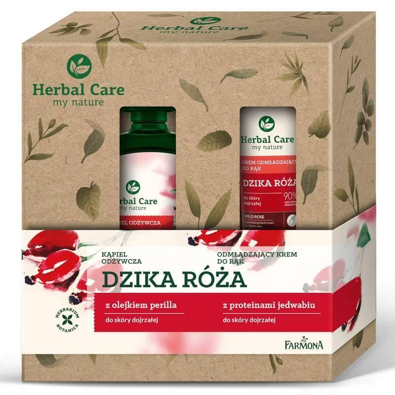Zestaw Herbal Care pielęgnacja ciała Dzika Róża (płyn do kąpieli, krem do rąk)
