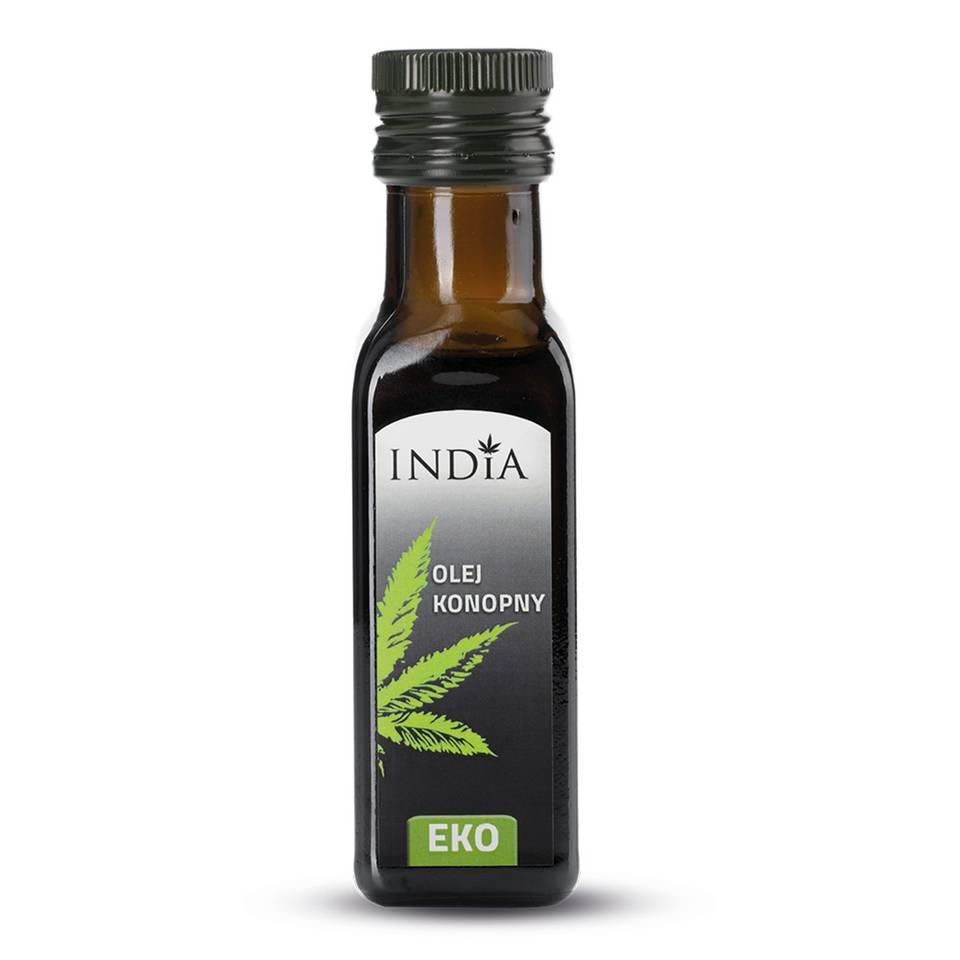 India Naturalny olej konopny tłoczony na zimno eko 100 ml