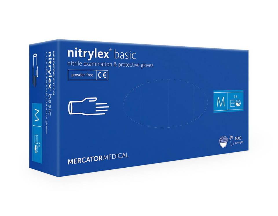Rękawice nitrylowe bezpudrowe niebieskie rozmiar M 100 szt